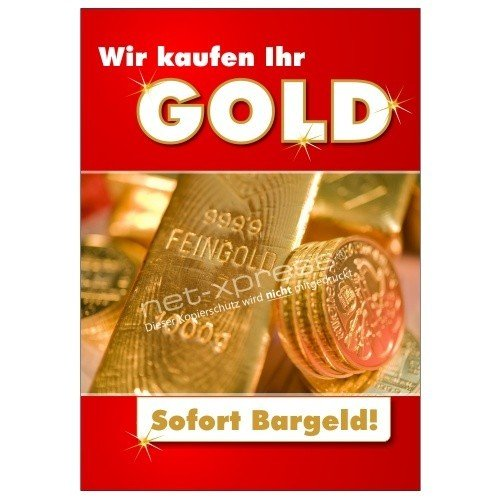 Goldankauf-Poster für Plakatständer DIN A1, Werbeplakat Plakat Gold Bargeld
