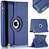 TGK 360 Degree Rotating Leather Case Cover Stand For iPad 4, iPad 3, iPad 2 - Navy Blue