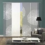 Vision S 94557-0307 | 4er-Set Schiebegardine Creston | halb-transparenter Stoff in Bambus-Optik | 4X 260x60 cm | Farbe: Grau