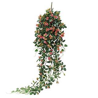JUSTOYOU 5FT Hängen Künstliche Pflanzen Rose Vine Gefälschte Hängepflanzen Haus Zimmer Garten Hochzeit Indoor Outdoor Dekorative Große (Rosenrot)