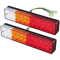 Justech 2PCS Luces Traseras del Remolque Luces de Freno Traseras LED Lámpara de Marcha Atrás 12V 24V Impermeable Universal para Camión Remolque Caravana Tractor