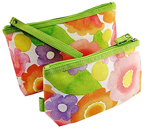 CLINIQUE SPRING PINK AND GREEN FLORAL COSMETIC MAKE UP BAG SET