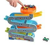 Xyanzi Kinderspielzeug Kinder Auto Racer Track Playset, Kleinkind Spielzeug für 1 2 Jahre Alten Jungen und Mädchen Geschenke aus Holz Rennbahn Auto Ramp Racer mit 4 Mini Autos