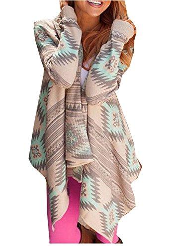 Damen Strickjacke Cardigan Langarmshirt Geometrische Irregular Lose Pullover Mantel Outwear Tops...