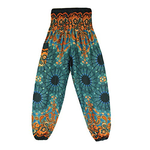 Cicisiso Hohe Taille Mandala Printed Pants Frauen Herbst böhmischen Plus Size Bloomers Hosen 6 Farben Green
