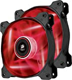 Corsair CO-9050029-WW Air Series SP120 LED 120mm Haute pression à faible son LED Ventilateurs de boitier Dual Pack Rouge