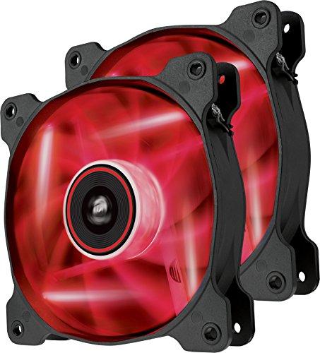 Corsair SP120 LED PC-Gehäuselüfter (120mm, Leise, Hoher Luftdurchsatz, rot LED, Dual Pack)