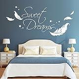 "Wandtattoo Loft Wandaufkleber Schriftzug ""Sweet Dreams"" Zitat mit Federn und"