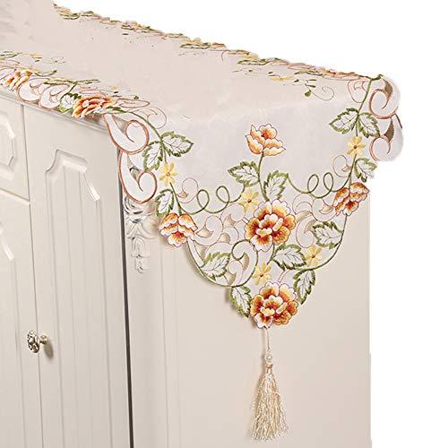 Chemin de table Triangle Table Runner, nappe de fleurs pour anniversaire fournitures de mariage Tapis de famille Tapis de café Hôtel Literie (Couleur : Le jaune, taille : 40×145cm)