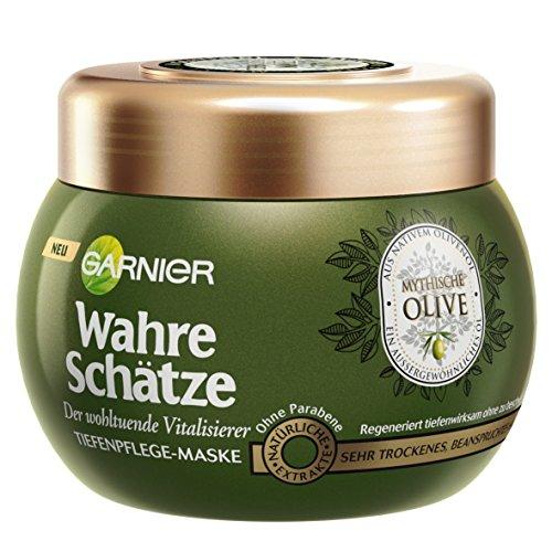Garnier Wahre Schätze Tiefenpflege-Maske, Mythische Olive, nährt und regeneriert sehr trockenes, beanspruchtes Haar, ohne Parabene, 300 ml