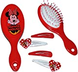 1 Set: Haarbürste + Haarspangen - für Mädchen / Kinder - Minnie Mouse - Hello Kitty - Princess Prinzessinnen - Schmuck Haarschmuck - Blumen rosa Accessoires H..