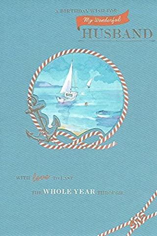 Carte d'anniversaire pour mari–Or blanc Yachts, bleu ciel, corde, & Big Anchor 22,9x 15,2cm