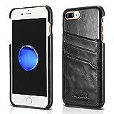 FUTLEX Étui Coque Arrière Style Vintage en Cuir Véritable pour iPhone 8 Plus iPhone 7 Plus (5.5') - Noir - Porte-Cartes - Ultra Mince - Coupe et Design de Précision - Fait Main