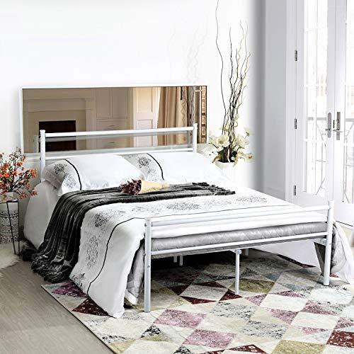 Aingoo Marco de cama doble Cama de metal con listones macizos para niños y adultos 140X190cm,Blanco
