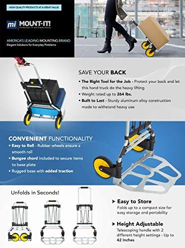 Mount-It! Folding Hand Truck Carrello Mano Pieghevole, Capacità 120 kg, Carrello Portabagagli Con Maniglia Telescopica e Ruote Gomma