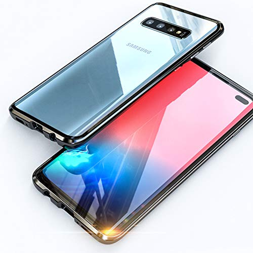 JUNHENG Custodia Samsung Galaxy S10 Adsorbimento Magnetico Tech Metallo Flip Cover Doppio Vetro temperato Unibody Design Magneti potenti Cornice incorporata Protezione 360 Gradi Antiurto Cassa, Nero
