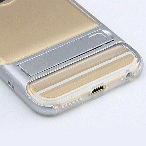BCIT iPhone 6 Plus Hülle - Hybrid kratzfeste stoßdämpfende TPU +PC Bumper Frame Dual Layer Tasche Schutzhülle mit Ständer für iPhone 6 Plus - Transparent Rose Gold Transparent & Silber