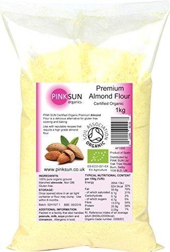 PINK SUN Bio Amandes en Poudre 1kg Farine D'Amande Pour la Cuisson - Amandes Moulues - Organic Ground Almonds 1000g