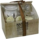 Scrafts White Nature Scent Highly Fragranced/Scented Exotic Aroma Natural Wax Ceramic Diffuser & Glass Candles Exclusive Gift Set For Home Décor/Gifts/Spa/Meditation.