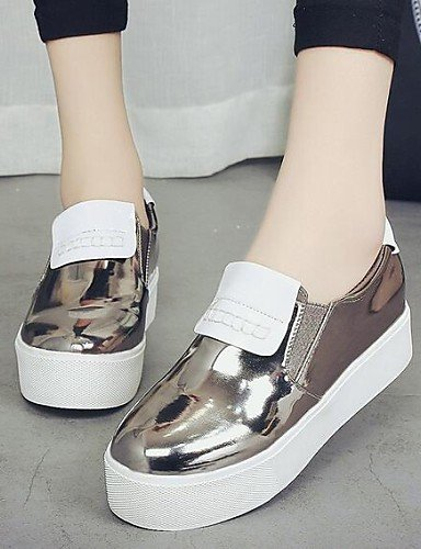 ZQ gyht Scarpe Donna - Mocassini - Tempo libero / Casual - Comoda / Chiusa - Plateau - Finta pelle - Nero / Rosa / Bianco / Argento / Dorato , golden-us8 / eu39 / uk6 / cn39 , golden-us8 / eu39 / uk6  golden-us6.5-7 / eu37 / uk4.5-5 / cn37