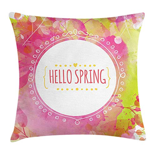 Yinorz Hello Throw Pillow Cushion Cover, Watercolor Background with Berry and Leaf Traces in Pastel Colors Round White Frame, Decorative Square Accent Pillow Case, 18 X 18 inches, Multicolor