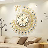 21 pollici or 26 pollici di grandi dimensioni del pavone d'oro del quarzo di disegno orologio da parete muto ( Colore : Oro , dimensioni : 65*65cm )