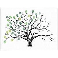 vorcool Huella Dactilar algodón libro de visitas para boda cumpleaños (verde)