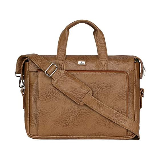 K London Camel Leatherite Handmade Men Laptop Bag Cross Over Shoulder Messenger Bag Office Bag (1801_Camel)