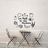 Pbbzl Diy Schwarz Vinyl Aufkleber Lassen Lebensmittel Sein Medizin Wandtattoo Obst Und Gemüse Wandaufkleber Für Küche Restaurant 42X58 Cm