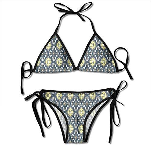 Jiger Adjustable Bikini Set Halter Ladies Swimming Costume, Victorian Baroque Ornament Motifs Royal Tile Design Renaissance,Halter Beach Bathing Swimwear Renaissance-baby Cup