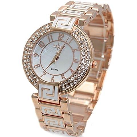 Tono oro rosa ukfw856a Watchcase quadrante bianco orologio donna Trendy Crystal Bracciale