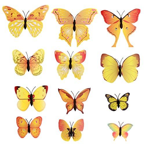 12 Stück 3D Magnet Schmetterling Wandtattoo Wandsticker für Home Dekoration Wand Aufkleber (Gelb)