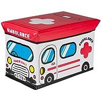 Aufbewahrungsbox mit gepolstertem Deckel Motiv Ambulance Krankenwagen Klapphocker faltbar Polsterhocker Sitzhocker 49cm x 31cm x 31cm Sitzbox Sitzbank Hocker Kiste Kunstleder Klappbox Spielzeugkiste preisvergleich bei kinderzimmerdekopreise.eu