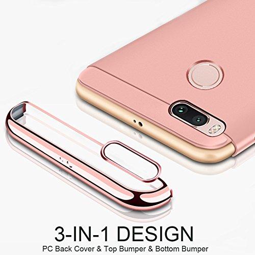 Xiaomi Mi 5X Hülle, MSVII® 3-in-1 Design PC Hülle Schutzhülle Case Und Displayschutzfolie für Xiaomi Mi 5X - Rose Gold JY50152 Gold
