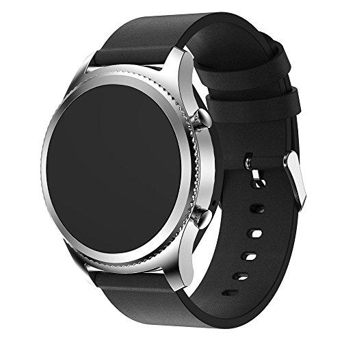 Uhrenarmband 22mm-Einfache Lederarmband Gürtel Edelstahl Schnalle Lederarmband in Schwarz Braun, Ersatband mit Edelstahl Schließe für Herren Damen Super Weich wie Echte Leder (Schwarz)