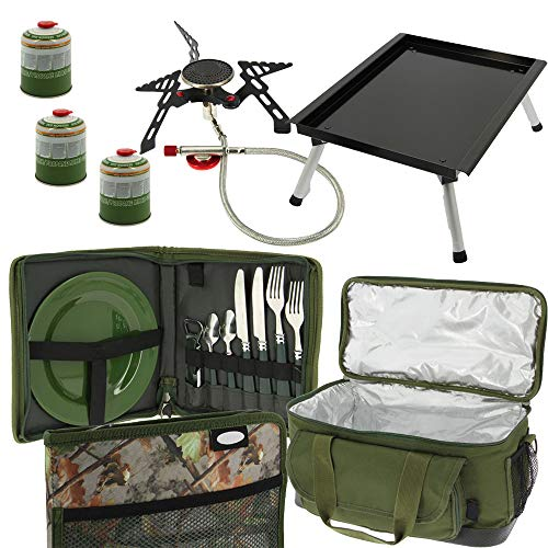 g8ds® Session Outdoor Cooking Set Besteck Tisch isolierte Tasche Gasbrenner Butan Kochen Bivvy kocher