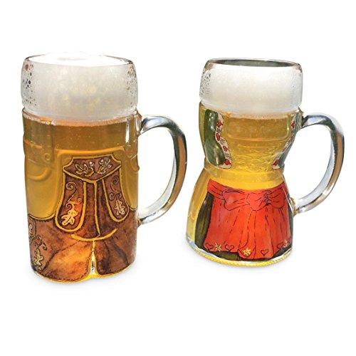 2 Glas-Bierkrüge im Dirndl & Lederhosen-Look 0,5 l