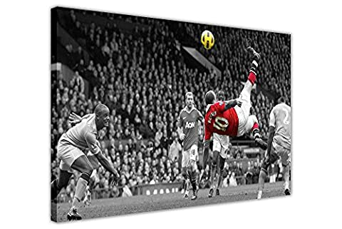 FAMOUS MANCHESTER UNITED WAYNE ROONEY BICYCLE KICK FRAMED PICTURES CANVAS WALL ART PRINTS FOOTBALL POSTER SIZE: A3 - 16