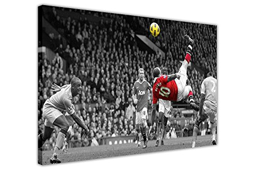 Gerahmte Leinwand, Bilddruck des berühmten Fallrückziehers von Manchester-United-Star Wayne Rooney, Fußball-Poster, Wandarbeit, canvas holz, 06- 30