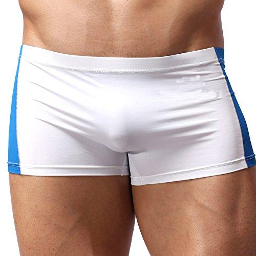 Elastische Badehose Unterwäsche Slip Bademode für Männer Weiß+Blau