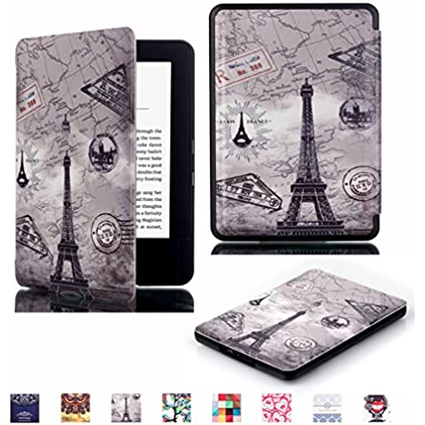 Kindle 7th Gen Funda Carcasa,Protección Ultra Thin Piel con Folio Flip Smart Case Cover para Amazon Kindle 7th Generación 2014,6 pulgadas Funda Carcasa de Cuero de Piel on Stand