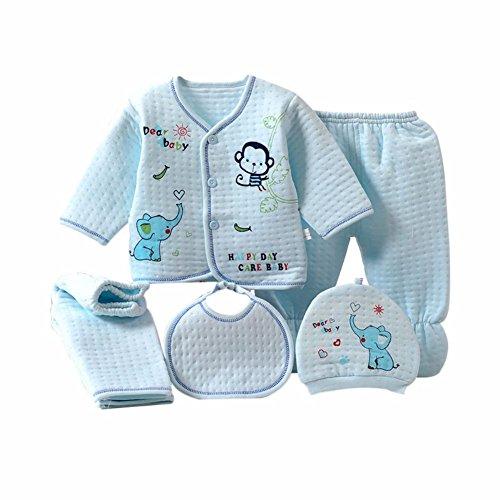 BOBORA 5PCs Bebe Chemise en Coton + Pantalon +Chapeau +Bibs Ensemble Pyjamas pour 0-3M