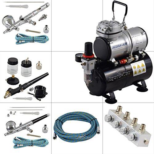 Agora-Tec® Airbrush Komplett-Set PROFI XIII.13, inkl. Kompressor mit 4 bar, 20l/min und 3 Liter Tank + 3 Airbrushpistolen mit 0,2 & 0,3 & 0,5 & 0,8mm Nadeln/Düsen + regelbaren 4-fach Luftdruckverteiler + 3 Schläuche + Adapter