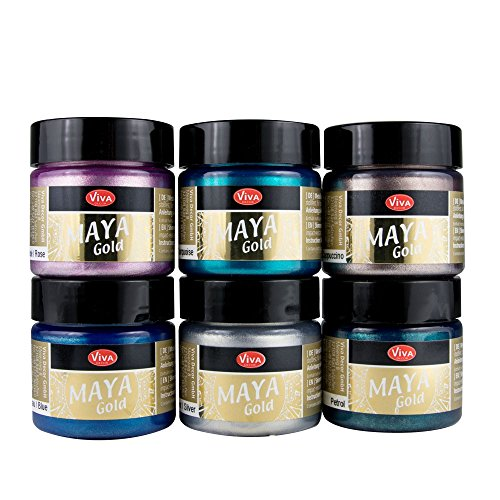 Maya Gold 6er Set (Sea Breeze) inkl. LM Pinsel --- Viva Decor Metallic Effektfarbe, Metallglanz, Effekt Farbe Metall, Bastelfarbe, Dekofarbe -