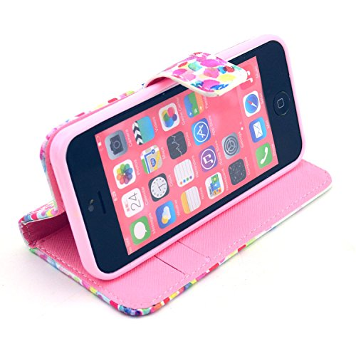 MOONCASE iPhone 5C Case Motif Conception Coque en Cuir Portefeuille Housse de Protection Étui à rabat Case pour iPhone 5C P03