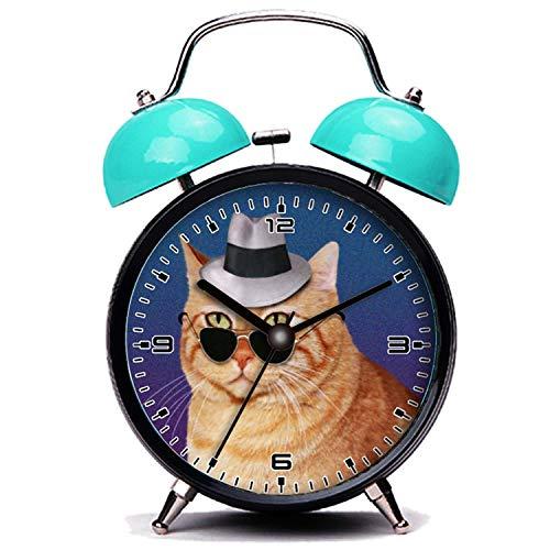 girlsight Blauer Wecker, Nette Katze Gelb gestreifte Katze mit Sonnenbrille und Hut Twin Bell Wecker mit Nachtlicht