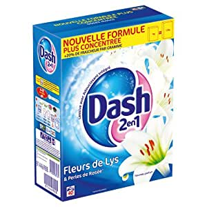 Dash 2 en 1 - Lessive Poudre - Fleurs de Lys & Perles de Rosée - 40 Doses