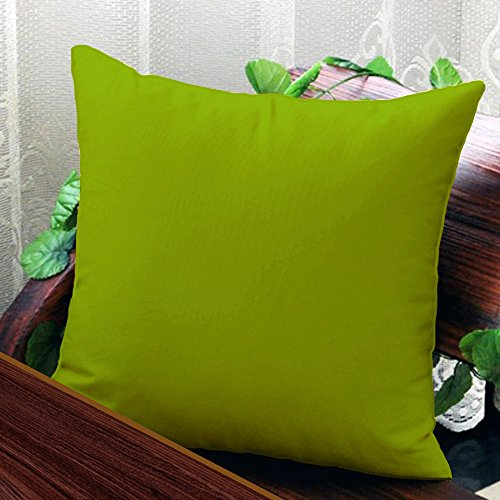 AURAVE Solid Plain Premium Cotton Cushion Cover - Green - 18 inch x 18 inch