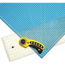 OfficeTree® Set Schneidematte - 60x45 cm (A2) blau + Rollschneider + Lineal 60x16 cm - Premium-Qualität - für professionelle Schnittarbeiten -