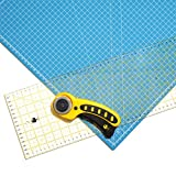 OfficeTree® Set Schneidematte - 90x60 cm (A1) blau + Rollschneider + Lineal 60x16 cm - Premium-Qualität - für professionelle Schnittarbeiten -